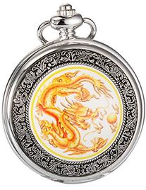 AMPM24 Mens Yellow Dragon Dangle Pendant Pocket Quartz Watch