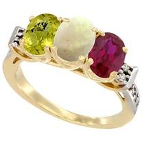 14K Yellow Gold Enhanced Ruby, Natural Opal & Lemon Quartz