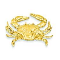 14K Yellow Gold Blue Crab Slide Pendant Jewelry New