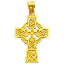 14K Yellow Gold Celtic Cross Pendant Charm Jewelry