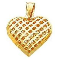 14K Yellow Gold Mesh Heart Charm Love Pendant Jewelry