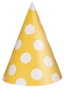 Unique Yellow Dots Hats, 8 Count
