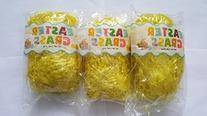 3 Pack of Yellow Reusable Shredded Plastic Easter Basket