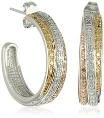 18k Yellow and Rose Gold-Plated Brass and Diamond C-Hoop
