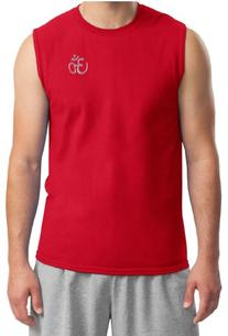 Mens Yoga Shirt - Aum Hindu Patch Pocket Print Muscle Shirt