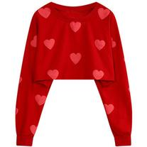Yoins Oversize Red Heart Pattern Crop Sweatshirt