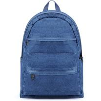 Yoins Two Front Zipper Pockets Denim Backpack in Blue