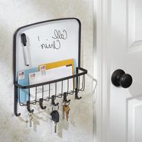 InterDesign York Lyra Dry-Erase Mail and Key Rack Holder,