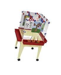 """Childbrite 24"""" Youth 4-Station Space Saver Easel with Clear"""