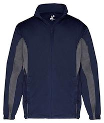 Badger Youth Brushed Tricot Drive Jacket, Nvy/Graphite,