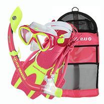 U.S. Divers Youth Buzz Junior Snorkeling Set, Neon Pink,