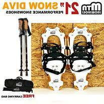 "New MTN Man Woman Kid Youth 21"" Gold Snowshoes with Nordic"