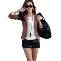 Zacoo Women's Folding Sleeve Office Blazer