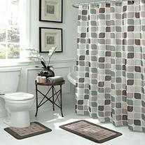 Bath Fusion Zaragoza Geometric 15-Piece Bath Set, Linen/