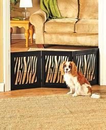 Zebra Pattern Fashionable Expanding Wooden Pet Gates