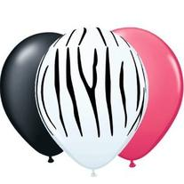 11 Zebra Print with Black & Pink Balloons 12pk by Qualatex