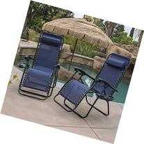 Belleze Lounge Patio Zero Gravity Chairs  Utility Tray Cup