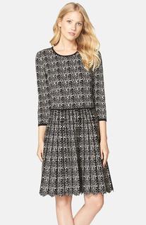 Women's Taylor Dresses Zigzag Hem Fit & Flare Sweater Dress