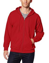Hanes Men's Full Zip EcoSmart Fleece Hoodie, Deep Red, XX-