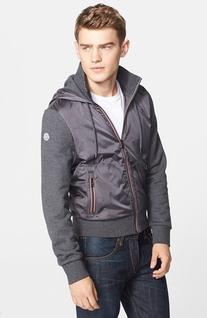 Men's Moncler Zip Hoodie Grey Large