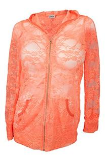 eVogues Plus Size Lace Zipper Front Hoodie Top Coral - 4X